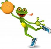 stock photo of amphibious  - illustration merry green frog with a basketball - JPG