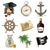stock photo of skull crossbones flag  - 9 highly detailed pirate icons - JPG