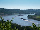 picture of coal barge  - Overlooking the Ohio River with two barges on a sunny summer day - JPG