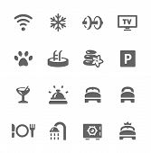 Hotel features icon set
