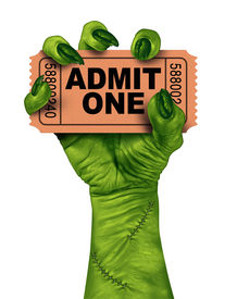 pic of stitches  - Monster movies with a zombie hand holding a cinema or theater ticket stub as a creepy halloween or scary entertainment symbol with textured green skin and stitches isolated on a white background - JPG
