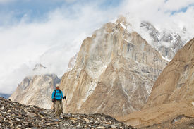 stock photo of skardu  - Hiking in the Karakorum Mountains in Northern Pakistan - JPG