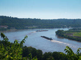 image of coal barge  - Overlooking the Ohio River with two barges on a sunny summer day - JPG