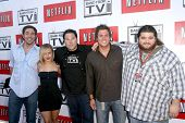 L-R Zachary Levi, Hayden Panettiere, Greg Grunberg, Bob Guiney, and Jorge Garcia  at 'Band From TV'