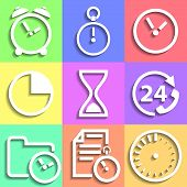 Set of flat Time icons