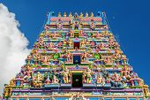 pic of vinayagar  - Colorful facade of a Hindu temple in Victoria Mahe Seychelles also known as ARUL MIHU NAVASAKTHI VINAYAGAR - JPG
