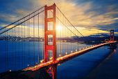 picture of bridge  - Famous Golden Gate Bridge at sunrise San Francisco USA - JPG