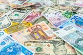 foto of zloty  - Background made of dollar euro and polish zloty banknotes - JPG