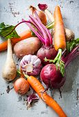 pic of root vegetables  - Assorted types of root vegetables - JPG