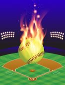 pic of softball  - An illustration of a flaming softball above an aerial view of a softball field - JPG