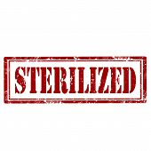 stock photo of decontamination  - Grunge rubber stamp with text Sterilized - JPG