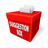picture of suggestive  - a red suggestion box with notes of paper stuffed into its slot offering feedback - JPG