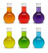 foto of flask  - Set of flasks with colored liquid - JPG