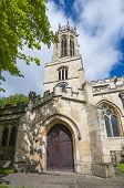 stock photo of octagon  - Old medieval All Saints church in english city of York with clock and octagonal lantern tower - JPG