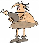 foto of caveman  - This illustration depicts a caveman eating a large drumstick - JPG