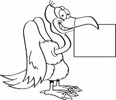 pic of buzzard  - Black and white illustration of a buzzard holding a sign - JPG