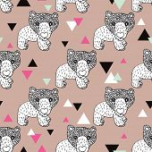 pic of grizzly bear  - Seamless geometric woodland animal doodle sketch illustration grizzly bear background pattern in vector - JPG