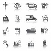 stock photo of ship  - Logistic shipping freight service icons set of delivery truck box container ship isolated vector illustration - JPG