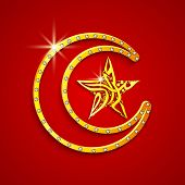 image of crescent-shaped  - Golden crescent moon with arabic islamic calligraphy of text Eid Mubarak in star shape on red background for the celebrations of Muslim community festival - JPG