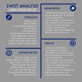 picture of swot analysis  - Editable business and marketing template for SWOT analysis in simplistic modern design of blue and grey with icons - JPG