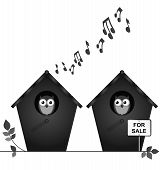 foto of noise pollution  - Monochrome noisy neighbours with birdhouses for sale isolated on white background - JPG