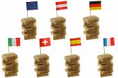 stock photo of european  - Different European flag toothpicks on Wholemeal, wholewheat brown bread (1st row : Flag of European Union, Austria, Germany) (2nd row : Flag of Italy, Switzerland, Spain, France) - JPG
