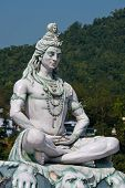 picture of shiva  - Statue Shiva hindu idol on the river Ganges Rishikesh India - JPG