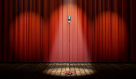 stock photo of curtains stage  - 3d stage with red curtain and vintage microphone in spot light - JPG