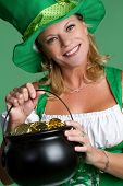 picture of saint patricks day  - St patricks day woman holding gold smiling - JPG