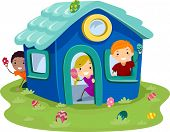 stock photo of playmates  - Illustration of Kids Hunting Easter Eggs in a Miniature House - JPG