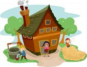 stock photo of household farm  - Illustration of Kids Doing Different Tasks Outside a Farm House - JPG