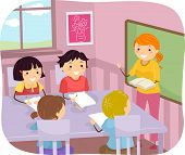 foto of student teacher  - Illustration of Young Students Listening to Their Teacher - JPG