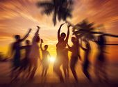 stock photo of break-dance  - Dancing Party Enjoyment Happiness Celebration Outdoor Beach Concept - JPG
