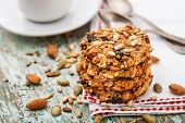 image of baked raisin cookies  - Homemade oatmeal cookies with seeds - JPG
