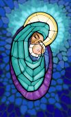 foto of bible story  - Illustration of Madonna with infant Jesus in her arm  - JPG