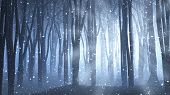 image of snow forest  - 3D render of a forest scene with rays shining through and snow - JPG
