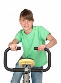 Adorable Preteen Girl Practicing Bike