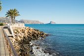 picture of costa blanca  - Sunny Altea promenade with Calpe in the background Costa Blanca Spain - JPG