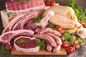 stock photo of raw chicken sausage  - raw meat - JPG