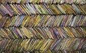 image of slit  - Colorful Multi colored slit like tile creates a wall - JPG