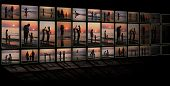 picture of televisor  - collage on black background as TV from many photos family on beach - JPG