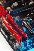 image of ram  - Two ram modules on motherboard macro, shoot in studio ** Note: Shallow depth of field - JPG