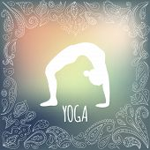 stock photo of dhanurasana  - Yoga logo with heart frame and girl practicing Wheel Pose  - JPG
