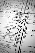 picture of hvac  - A macro shot of schematics on white paper - JPG