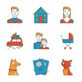 image of family planning  - Abstract icons of perspective family planning new life with the child new home travelling and keeping domestic pets - JPG
