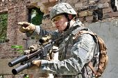 stock photo of army  - US Army soldier in urban combat action