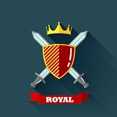picture of crossed swords  - vector illustration with crossing swords - JPG