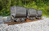 foto of mine  - Three mine carts on rails  - JPG