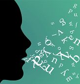 image of office romance  - Female profile speaking and throwing letters from her mouth on green background - JPG