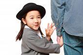 pic of kindergarten  - Japanese kindergartener walking to kindergarten with her father - JPG